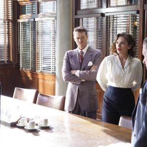 Still of James D'Arcy, Chad Michael Murray, Shea Whigham and Hayley Atwell in Agent Carter (2015)
