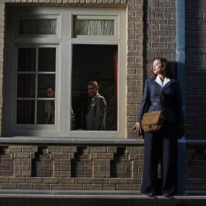 Still of Chad Michael Murray, Hayley Atwell and Enver Gjokaj in Agent Carter (2015)