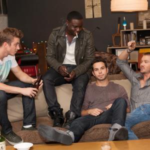 Still of Chad Michael Murray, Kenny Wormald, Skylar Astin and Dayo Okeniyi in Cavemen (2013)