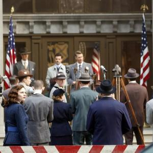 Still of James D'Arcy, Chad Michael Murray, Dominic Cooper and Hayley Atwell in Agent Carter (2015)