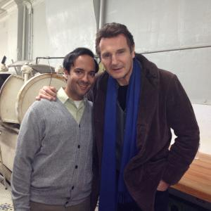 on the set of A Walk Among the Tombstones with Liam Neeson