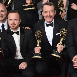 Bryan Cranston Bob Odenkirk Aaron Paul and Thomas Schnauz at event of The 66th Primetime Emmy Awards 2014