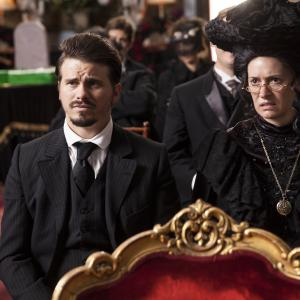 Still of Paget Brewster and Jason Ritter in Another Period (2015)