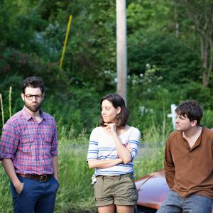 Still of Max Greenfield, Jason Ritter, Nate Parker and Aubrey Plaza in About Alex (2014)