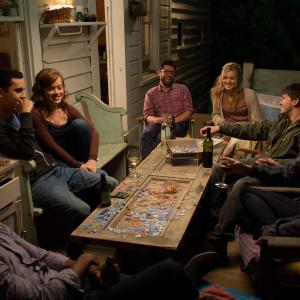 Still of Max Greenfield, Jason Ritter, Maggie Grace, Max Minghella, Nate Parker, Aubrey Plaza and Jane Levy in About Alex (2014)