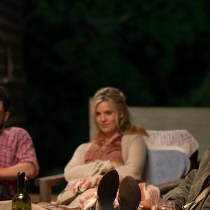 Still of Max Greenfield, Jason Ritter and Maggie Grace in About Alex (2014)