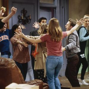 Still of Jennifer Aniston, Giovanni Ribisi, Courteney Cox, Lisa Kudrow, Matt LeBlanc, Matthew Perry, David Schwimmer and Debra Jo Rupp in Draugai (1994)