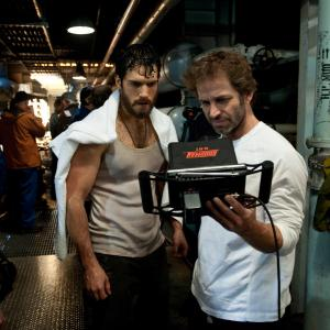 Henry Cavill and Zack Snyder in Zmogus is plieno (2013)