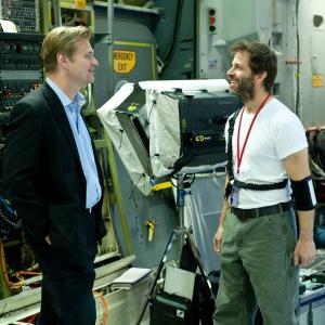 Christopher Nolan and Zack Snyder in Zmogus is plieno (2013)