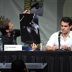 Henry Cavill and Zack Snyder at event of Zmogus is plieno (2013)