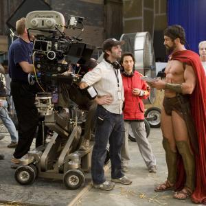 Still of Gerard Butler and Zack Snyder in 300 (2006)