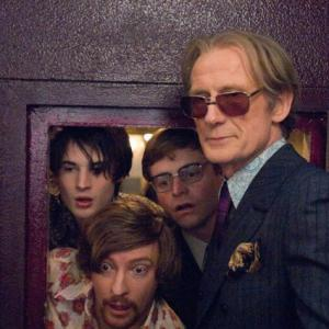 Still of Bill Nighy Tom Sturridge and Rhys Darby in The Boat That Rocked 2009