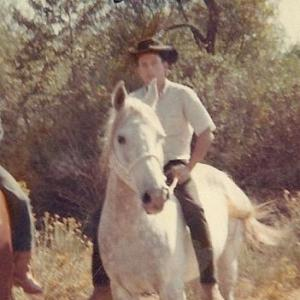 Sgt Tommie Mack Turvey Sr riding Dauntless son of Sgt Reckless while in the United States Marine Corp