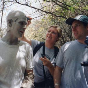 Brian Vermeire receives a touchup  direction from Jennifer White and Nick Termini during the shooting of Hell Hath No Fury 2002 American Movie Classics Monsterfest Finalist