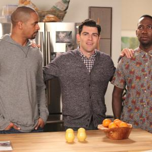 Still of Max Greenfield, Damon Wayans Jr. and Lamorne Morris in New Girl (2011)