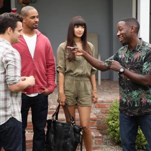 Still of Damon Wayans Jr., Hannah Simone, Lamorne Morris and Jake Johnson in New Girl (2011)