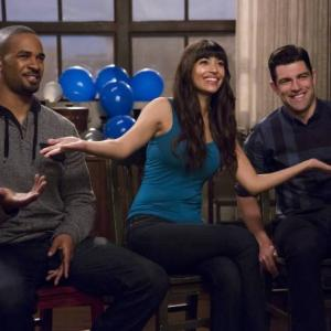 Still of Max Greenfield, Damon Wayans Jr. and Hannah Simone in New Girl (2011)