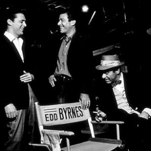 Efrem Zimbalist Jr with Edd Kookie Byrnes and Louis Quinn on the set of 77 Sunset Strip January 15 1961