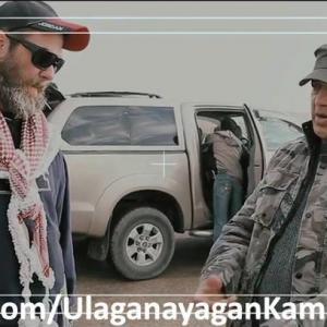 Jude S Walko on the set of Vishwaroopam near Petra Jordan with Kamal Haasan