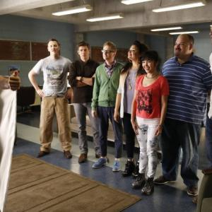 Still of Mel Rodriguez Geoff Stults Kyle Davis Chris Lowell Mort Burke Michelle Buteau and Parker Young in Enlisted 2014