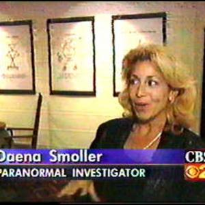 Daena Smoller ISPR GHOST EXPEDITIONS Vogue Theater Hollywood interview with CBS News inside the former Vogue Theater Hollywood during the 1999 AFI Film Festival American Film Institute
