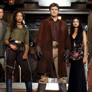 Still of Adam Baldwin, Nathan Fillion, Gina Torres, Alan Tudyk and Morena Baccarin in Serenity (2005)