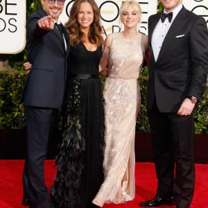 Robert Downey Jr., Anna Faris, Chris Pratt and Susan Downey at event of The 72nd Annual Golden Globe Awards (2015)