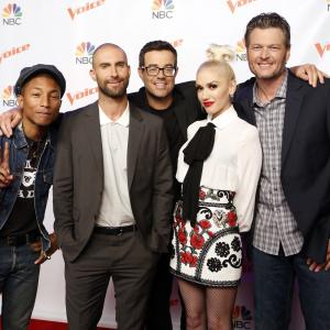 Carson Daly, Gwen Stefani, Pharrell Williams, Blake Shelton, Adam Levine