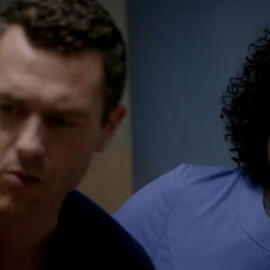 Still of Jason OMara and Christine Horn in Complications 2015
