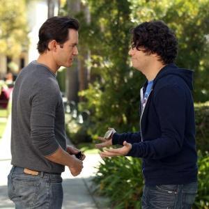 Still of Mark-Paul Gosselaar and Adam Pally in Happy Endings (2011)