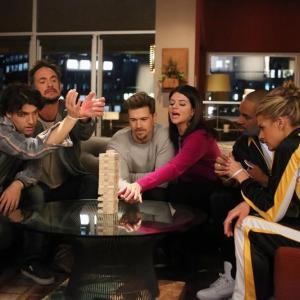 Still of Damon Wayans Jr., Nick Zano, Adam Pally, Seth Morris, Casey Wilson and Eliza Coupe in Happy Endings (2011)