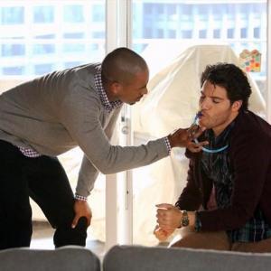 Still of Damon Wayans Jr. and Adam Pally in Happy Endings (2011)