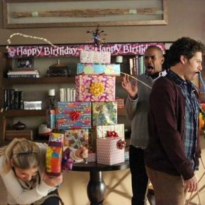 Still of Elisha Cuthbert, Damon Wayans Jr., Adam Pally and Eliza Coupe in Happy Endings (2011)