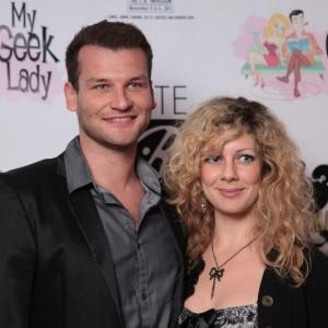 Christian Magdu with screenwriter Christin Magdu at the Beverly Hills Red Carpet Event for Comikaze 2011