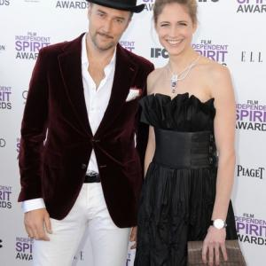 Carlos Leal and Fiona Hefti, attend the 2012 Film Independent Spirit Awards