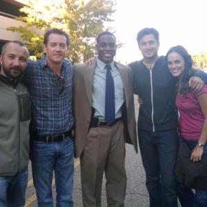 Nick Jones Jr Todor Chapkanov Jason London Erin Cahill and Wes Brown on the set of Storm War