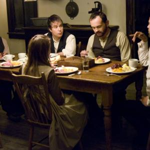 Still of Brad Pitt, Casey Affleck, Sam Rockwell and Pat Healy in The Assassination of Jesse James by the Coward Robert Ford (2007)