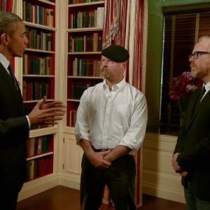 Still of Adam Savage, Jamie Hyneman and Barack Obama in MythBusters (2003)