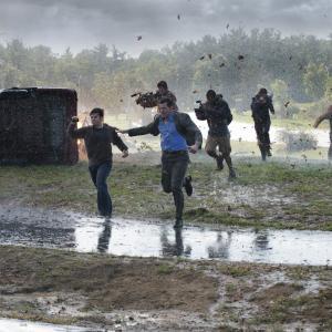 Still of Richard Armitage, Arlen Escarpeta, Nathan Kress, Jeremy Sumpter, Matt Walsh and Sarah Wayne Callies in Into the Storm (2014)