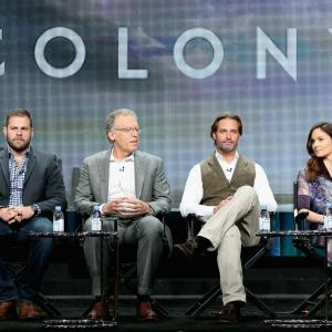 Carlton Cuse, Josh Holloway, Sarah Wayne Callies and Ryan Condal at event of Colony (2015)