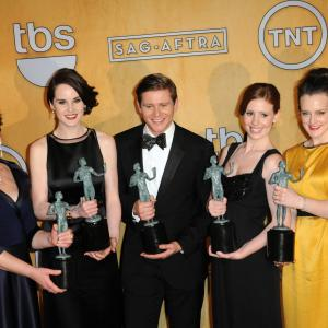 Phyllis Logan Amy Nuttall Allen Leech Michelle Dockery and Sophie McShera at event of Downton Abbey 2010