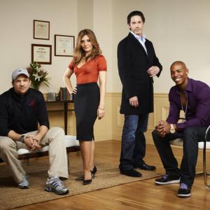 Still of Marc Blucas, Scott Cohen, Callie Thorne and Mehcad Brooks in Necessary Roughness (2011)