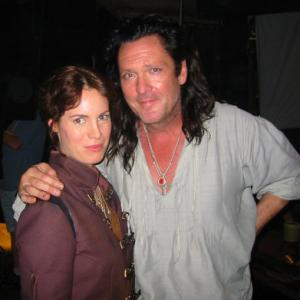 Adrienne Mcqueen with Michael Madsen on the set of Bloodrayne
