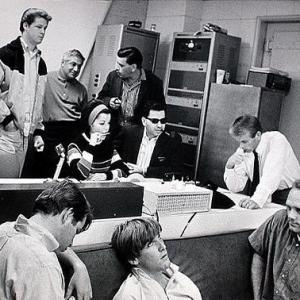 from L to R BACK Brian Wilson aka The Beach Boys Tutti Camarata Annette Funicello Robert B Sherman Richard M Sherman Al Jardine FRONT Dennis Wilson Carl Wilson Mike Love During the recording session for Monkeys Uncle The 1965