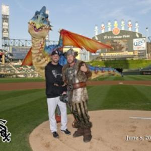 JB Warren and MLB pitcher John Danks from the Chicago White Sox Threw the first pitch for DreamWorks promo How To Train Your Dragon Live Spectacular