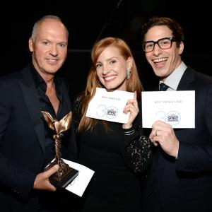 Michael Keaton, Jessica Chastain and Andy Samberg at event of 30th Annual Film Independent Spirit Awards (2015)
