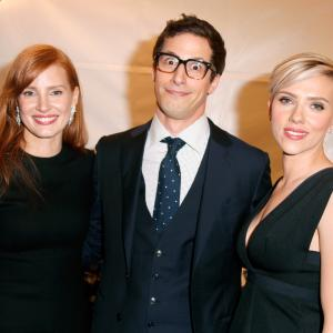 Scarlett Johansson, Jessica Chastain and Andy Samberg at event of 30th Annual Film Independent Spirit Awards (2015)