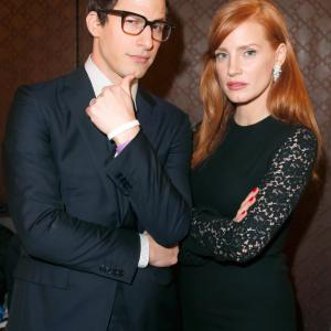Jessica Chastain and Andy Samberg at event of 30th Annual Film Independent Spirit Awards (2015)