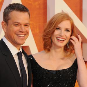 Matt Damon and Jessica Chastain at event of Marsietis (2015)