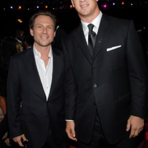 Christian Slater and Peyton Manning